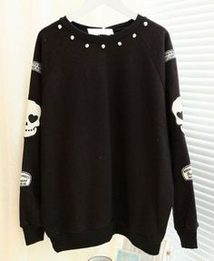 Rivets and Skull Embellished Sweatshirt - Clothing