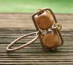 Handmade Jewelry Wood Beads and Copper Wire Wrapped Geometric by SunshineGardens