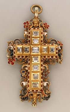 Cross  Date: third quarter 16th century Culture: probably Southern German Medium: Gold, partly enameled, set with diamonds