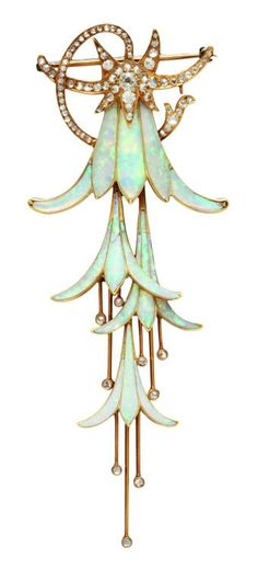 Georges Fouquet, fuchsia brooch or hair ornament - 1902 - Paris - Hessisches Landesmuseum Darmstadt - Art Nouveau Opal Jewelry, Jewelry Art, Antique Jewelry, Vintage Jewelry, Jewelry Design, Vintage Brooches, Crystal Jewelry, Silver Jewelry, Antique Bracelets