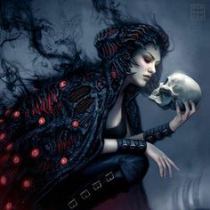 vampire demon with skull gothic artwork - borzii. Dark Fantasy Art, Fantasy Kunst, Fantasy Women, Fantasy Artwork, Dark Art, Final Fantasy, Dark Gothic Art, Gothic Artwork, Art Tumblr