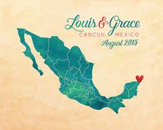 Wedding Anniversary Gift, Mexico Honeymoon, Personalized Map Art, Canvas Sign, Gift for Husband, Wife, Wedding Gift for Friends, Cancun