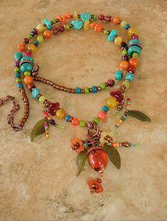 Boho Necklace Turquoise Necklace Statement Necklace by BohoStyleMe