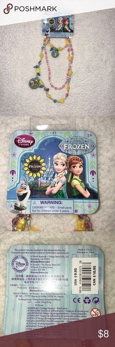 Disney Frozen Fever Jewelry Set New With Tags Disney Frozen Fever Jewelry Set New With Tags Two Necklaces and One Bracelet Anna Elsa Olaf Pink Yellow Blue Silver Pretty Little Girls Jewelry Set from Frozen Disney Accessories Jewelry