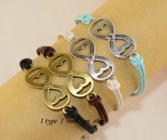 Infinity  heartshaped bracelet friendship bracelets by itypeicool, $0.20