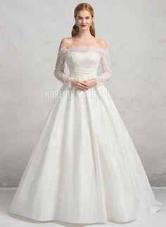 Robe de mariée princesse en taffetas dentelle avec manche longue pas cher [#ROBE2012852] - robedumariage.com