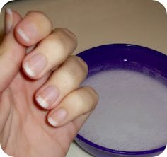 Whiten natural nails:  Lightly file the top of your nails to get the stains off.  Put about 1/2 cup of HOT water in a bowl.  Add 4 tablespoons of baking soda and stir until mostly dissolved.  Add 2 tablespoons of peroxide.  Soak nails in the solution for about a minute  (You can soak them longer if you have the patience, I don't! It works quickly though.)