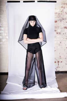Silk Organza Wide Leg Wrap Trousers - Black  | This Is The Uniform. | NOT JUST A LABEL