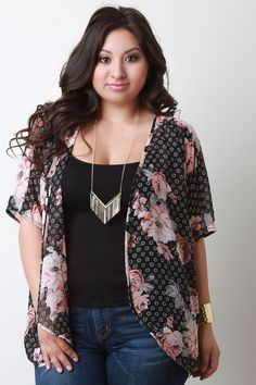 Description This lightweight plus size cardigan features a semi-sheer chiffon with mixed floral prints, short dolman sleeves, draped open front design, and asymmetrical hemline. Accessories sold separ