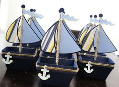 Boat Nautical Favor Box Treat Box Set Of by PaperletteDesigns Sailor Baby Showers, Anchor Baby Showers, Sailor Party, Sailor Theme, Baby Party, Baby Shower Parties, Baby Boy Shower, Nautical Favors, Nautical Party