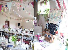 pretty DIY wedding village hall,  image by Helen Cawte Photography