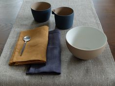 Cast Ceramics Canvas Cloth and Bowl Porcelain, linen and Libeco Linen Home Collection