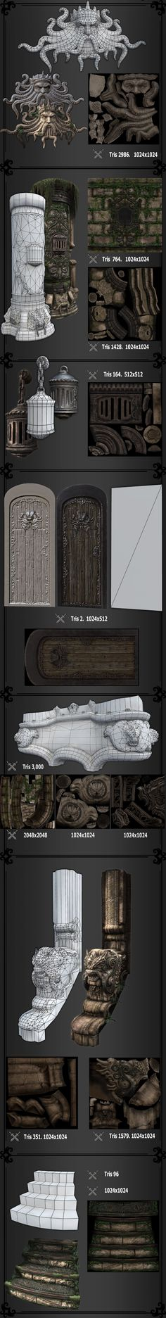 it would probably be better to color verts and use one detail shader and several tiling shaders that can be reused throughout the scene. The Art of Brian Trochim - Environment Artist Web Design, Game Design, Game Environment, Environment Concept, Environment Design, Zbrush Tutorial, 3d Tutorial, Wireframe, Low Poly