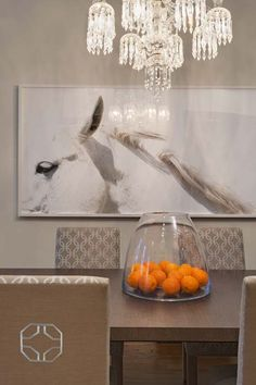 horse art in dining design by Elizabeth Bolognino