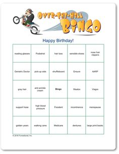 Printable Over The Hill Bingo