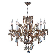 Maria Theresa Collection 8-light Chrome Finish and Amber Crystal Royal Chandelier