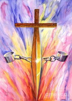 TSword of the Spirit breaking the chains that bind us. Image Jesus, Sword Of The Spirit, Jesus Pictures, Bible Pictures, Prophetic Art, Biblical Art, Lion Of Judah, Armor Of God, Spiritual Warfare