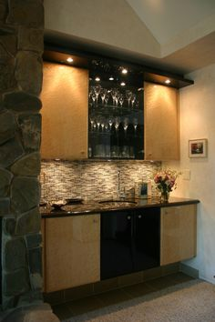 Basement Kitchen Bar Design, Pictures, Remodel, Decor and Ideas - page 16 Wet Bar Designs, Basement Bar Designs, Basement Ideas, Basement Bars, Wet Bar Cabinets, Glass Front Cabinets, Garage Cabinets, Upper Cabinets, Home Wet Bar