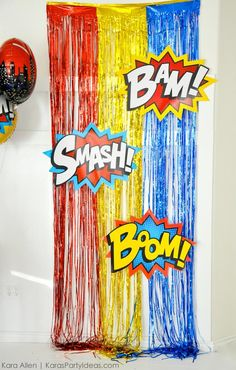 Superhero photo booth backdrop                                                                                                                                                                                 Más
