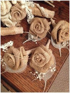 Burlap Flower Boutonnieres.  Pinned by Afloral.com from http://blog.theweddingofmydreams.co.uk/blog/2014/05/40-hessian-wedding-ideas/ ~Afloral.com has high-quality preserved flowers and burlap for your DIY wedding ideas.