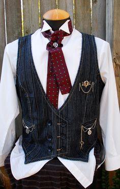 Tin Man Woman Double Breasted Denim Waistcoat Steampunk Edwardian Repurposed. $68.00, via Etsy.