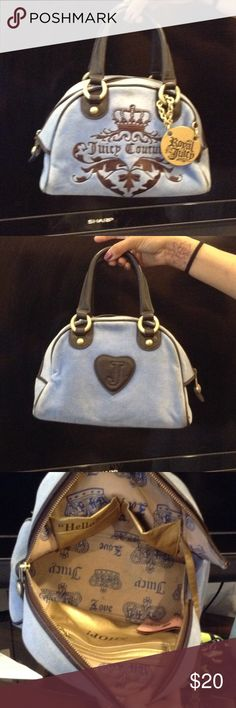 d5367a232844 Juicy couture purse Juicy coutour fabric purse blue with brown trim some  trim at bottom shows