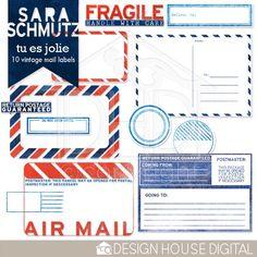 Tu Es Jolie Vintage Mail Labels