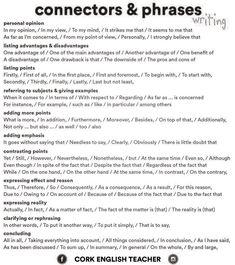 Connectors & Phrases #learnenglish https://plus.google.com/+AntriPartominjkosa/posts/aZr4JQ5KEKy