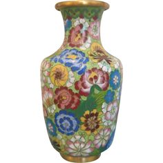 """Colorful Cloissoné Vase in """"all over flower"""" design , early 20th century from Chateau Antique on #rubylane"""