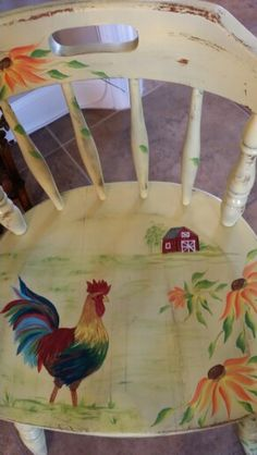Painted rooster chair