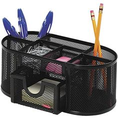 Rolodex Steel Mesh Pencil Cup Organizer with Eight Compartments (€14) ❤ liked on Polyvore featuring home, home decor, office accessories, desk organization, storage & organization, rolodex organizer, black sticky notes, black pencils, compartment organizer and black marker