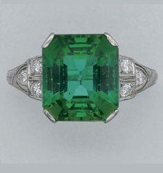 PLATINUM, TOURMALINE AND DIAMOND RING, TIFFANY & CO., CIRCA 1925.