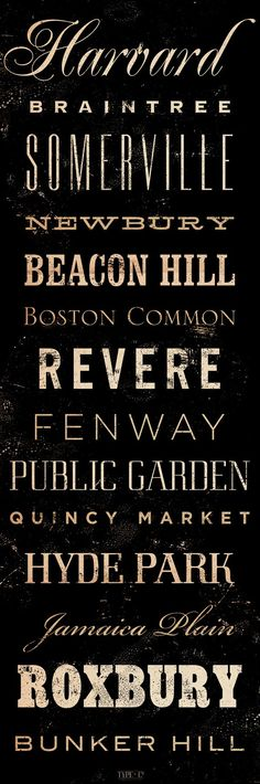 Boston Neighborhoods Canvas typography graphic art on gallery wrapped canvas by Stephen Fowler