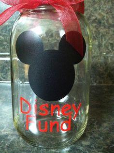 Glass Mason jar with lid.  Disney Fund jar with by getpersonal1, $8.00