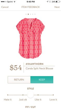 I like the split neck blouse trend, pattern, and maybe the color too