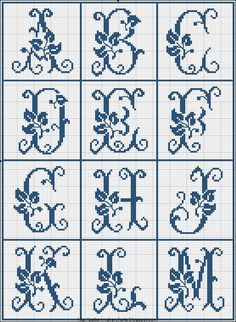 Free Easy Cross, Pattern Maker, PCStitch Charts + Free Historic Old Pattern Books: Sajou No 326 Alphabet Au Crochet, Cross Stitch Alphabet Patterns, Cross Stitch Letters, Cross Patterns, Beading Patterns, Embroidery Patterns, Easy Cross, Simple Cross Stitch, Cross Stitch Charts