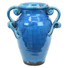 "Weathered and crackled vase with scrolling handles. Product: VaseConstruction Material: CeramicColor: Blue   Dimensions: 12"" H x 11"" Diameter   Cleaning and Care: Wipe with clean damp cloth"