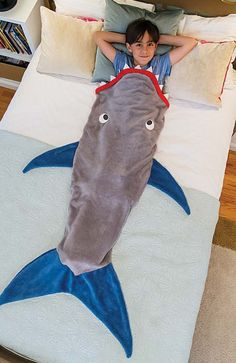 Shark Blanket by Blankie Tails - Gray and Deep Blue - Blankie Tails - 2