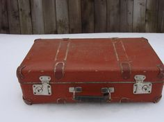 Antique Brown Suitcase, Russet Brown Hardboard Luggage, Old Luggage the Key,  Vintage Travel ,Soviet Vintage, 1940s, Collectible - http://oleantravel.com/antique-brown-suitcase-russet-brown-hardboard-luggage-old-luggage-the-key-vintage-travel-soviet-vintage-1940s-collectible