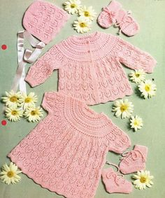 baby matinee coat and bonnet lacy vintage baby knitting pattern PDF instant download