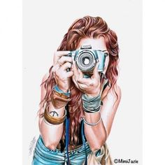 Take a photo Fashion Sketches, Art Sketches, Girls Heart, Sketch Style, Dibujos Tumblr A Color, Girls With Cameras, Photographie Portrait Inspiration, Girly M, Camera Art
