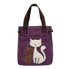 Crazy Lady Cat Purse - Love Cat Design Cat Purse, Cat Bag, Canvas Handbags, Tote Handbags, Ladies Handbags, Gris Violet, Big Tote Bags, Women's Bags, Hobo Bags