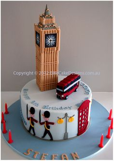 Cake in Shape of Big Ben and Double Decker Bus