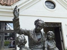 H.C.Andersen and Children Statues  at Funabashi-Andersen Park, Chiba, Japan