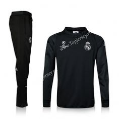 60cff25aa 2016-17 Real Madrid Champions League Inside-Cotton Black Thailand Soccer  Tracksuit Real Madrid