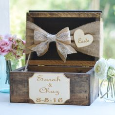 burlap and lace card box, rustic wedding card box, burlap wedding decor, barn reception decor STEP-BY-STEP INSTRUCTIONS and PHOTOS to Knit a Bunny from a Square STEP To start with, we're going to forged with num. Rustic Card Box Wedding, Wedding Boxes, Chic Wedding, Wedding Table, Wedding Cards, Dream Wedding, Wedding Ideas, Lace Wedding, Trendy Wedding