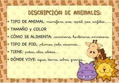 Fichas para describir animales y personas - Escuela en la nube | Recursos para Infantil y Primaria