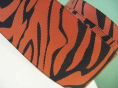 Tiger Stripe Orange and Black Grosgrain Ribbon in 1.5 inches wide Ani