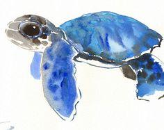 Bébé tortue, aquarelle originale, peinture, 9 X 12 po, blue art animaux de mer, illustration animale mignonne, art enfants