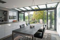 Falttüren Wintergarten aluminium glazed roof with single track sliding doors products used
